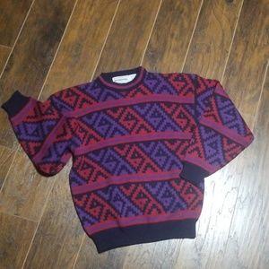Vintage McGregor sweater red purple navy medium